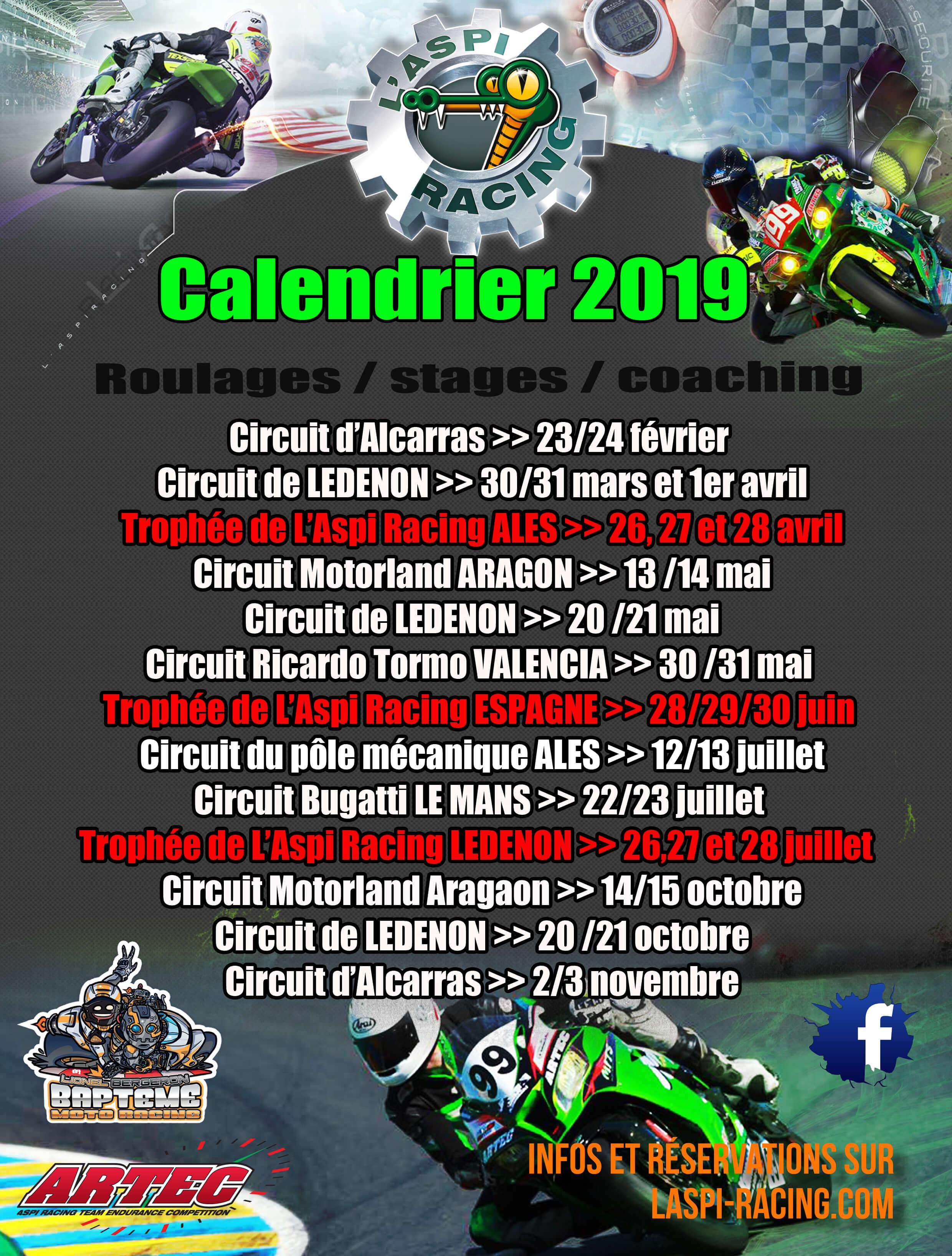 Calendrier Aspi Racing 2019